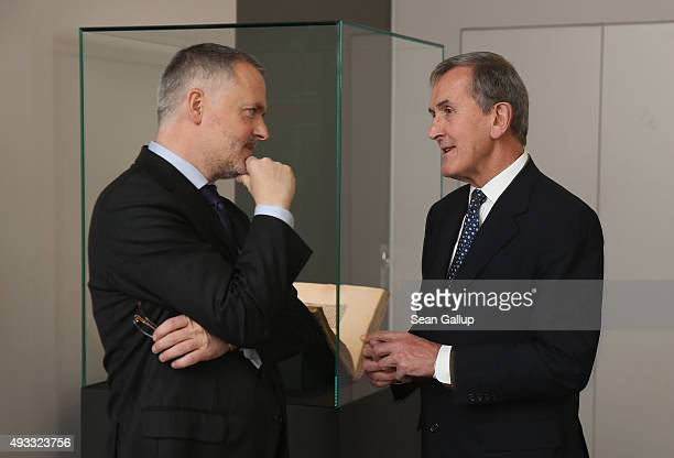 Neil MacGregor Director of the British Museum and Hartwig Fischer General Director of the Dresden State Art Collections chat while standing among a...