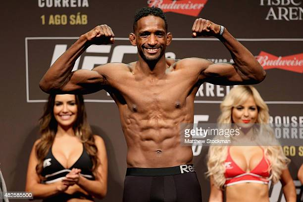 Neil Magny of the United States steps onto the scale during the UFC 190 Rousey v Correia weigh-in at HSBC Arena on July 31, 2015 in Rio de Janeiro,...