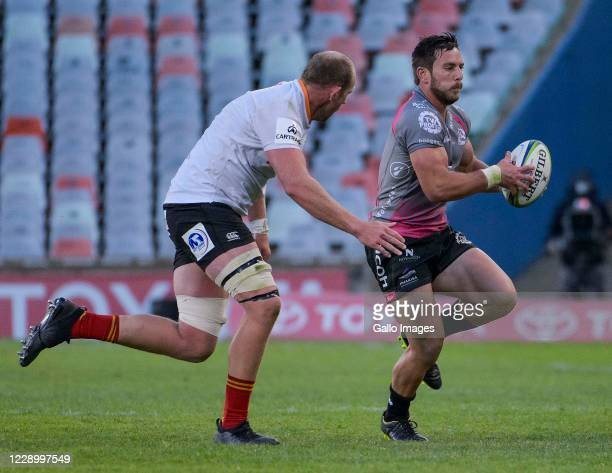Neil Maritz of Pakisa Pumas and Carl Wegner of Toyota Cheetahs during the Super Rugby Unlocked match between Toyota Cheetahs and Phakisa Pumas at...