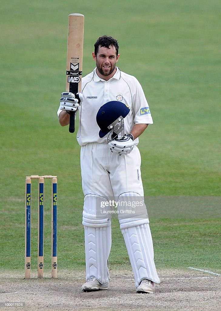 Neil McKenzie of Hampshire celebrates his century during the LV County Championship match between Nottinghamshire and Hampshire at Trent Bridge on May 20, 2010 in Nottingham, England.