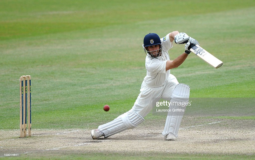 Neil McKenzie of Hampshire hits out to the boundary during the LV County Championship match between Nottinghamshire and Hampshire at Trent Bridge on May 20, 2010 in Nottingham, England.