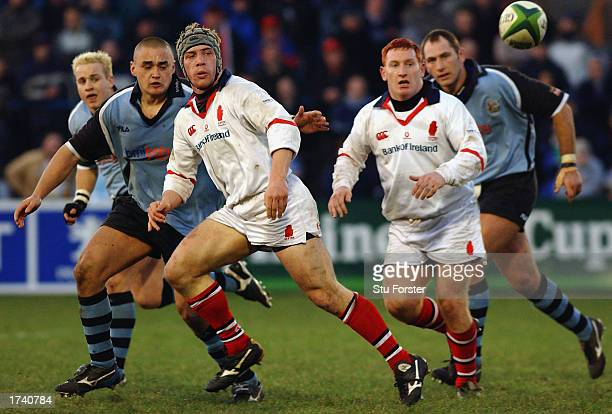 Neil McMillan of Ulster passes the ball during the Heineken Cup match between Cardiff and Ulster played at Cardiff Arms Park in Cardiff Wales on...