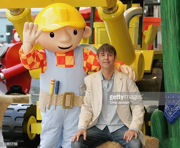Neil Morrissey and Bob the Builder pose for photographs at the Bob The Builder Built To Be Wild UK Premiere at the Odeon West End in Leicester Square...