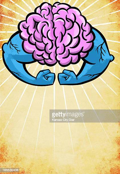 Neil Nakahodo color illustration of light radiating from human brain with powerful arms and biceps