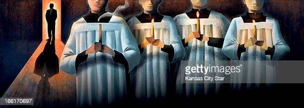 Neil Nakahodo illustration of altar boys holding candles while priest looks on