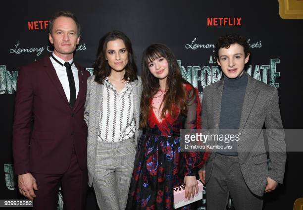 Neil Patrick Harris Allison Williams Malina Weissman and Louis Hynes attend the Netflix Premiere of 'A Series of Unfortunate Events' Season 2 on...