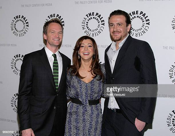 Neil Patrick Harris Alyson Hannigan and Jason Segel attend the 'How I Met Your Mother' 100th episode party at The Paley Center for Media on January 7...