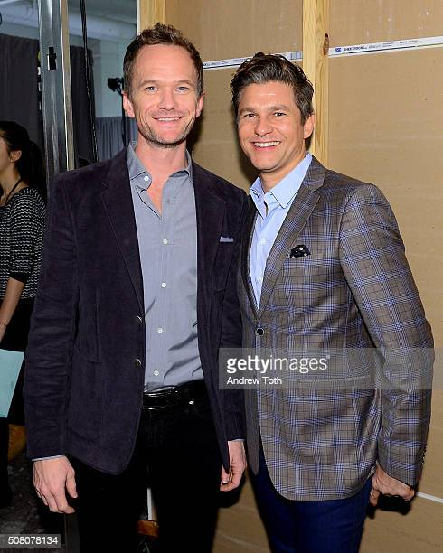 Neil Patrick Harris and David Burtka are seen backstage during Ovadia Sons New York Fashion Week Men's Fall/Winter 2016 at Skylight at Clarkson Sq on...