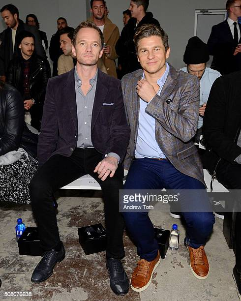 Neil Patrick Harris and David Burtka are seen front row during Ovadia Sons New York Fashion Week Men's Fall/Winter 2016 at Skylight at Clarkson Sq on...