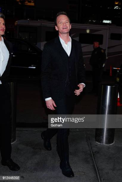 Neil Patrick Harris and David Burtka attend the Elton John tribute concert at Madison Square Garden on January 30 2018 in New York City