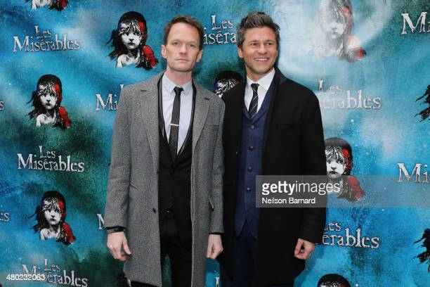 Neil Patrick Harris and David Burtka attend the opening night of Cameron Mackintosh's new production of Boublil and Schonberg's 'Les Miserables' on...
