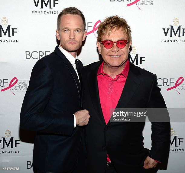 Neil Patrick Harris and Elton John attend Breast Cancer Research Foundation's Hot Pink Party The Pink Standard at Waldorf Astoria Hotel on April 30...
