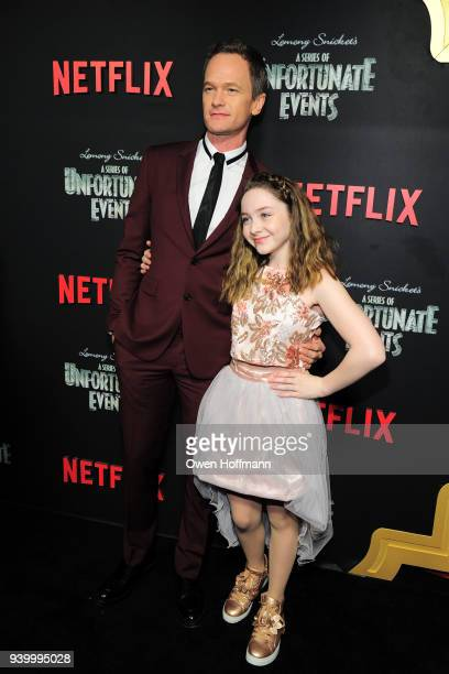 Neil Patrick Harris and Kitana Turnbull attend A Series Of Unfortunate Events Season 2 Premiere at Metrograph on March 29 2018 in New York City