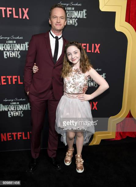 Neil Patrick Harris and Kitana Turnbull attend the 'A Series Of Unfortunate Events' Season 2 Premiere at Metrograph on March 29 2018 in New York City