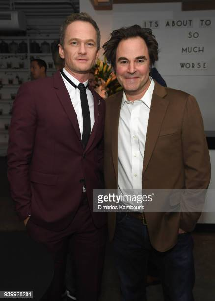 Neil Patrick Harris and Roger Bart attend the Netflix Premiere of 'A Series of Unfortunate Events' Season 2 on March 29 2018 in New York City