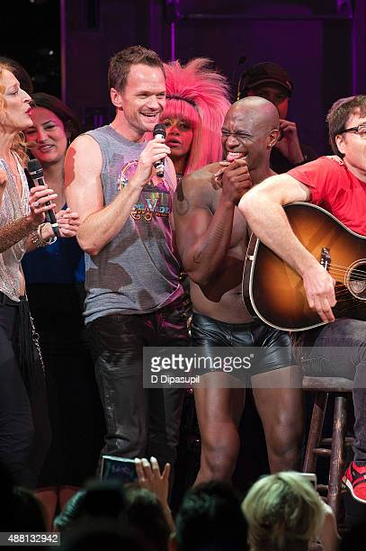 Neil Patrick Harris and Taye Diggs perform onstage during the Hedwig and the Angry Inch Broadway final performance at the Belasco Theatre on...