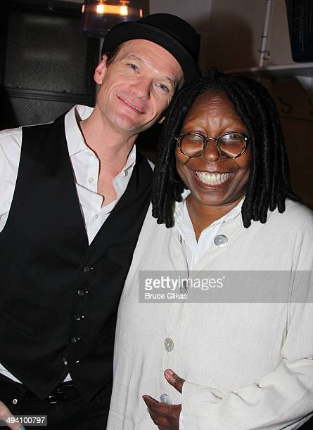 Neil Patrick Harris and Whoopi Goldberg pose backstage at Hedwig and The Angry Inch on Broadway at The Belasco Theater on May 27 2014 in New York City