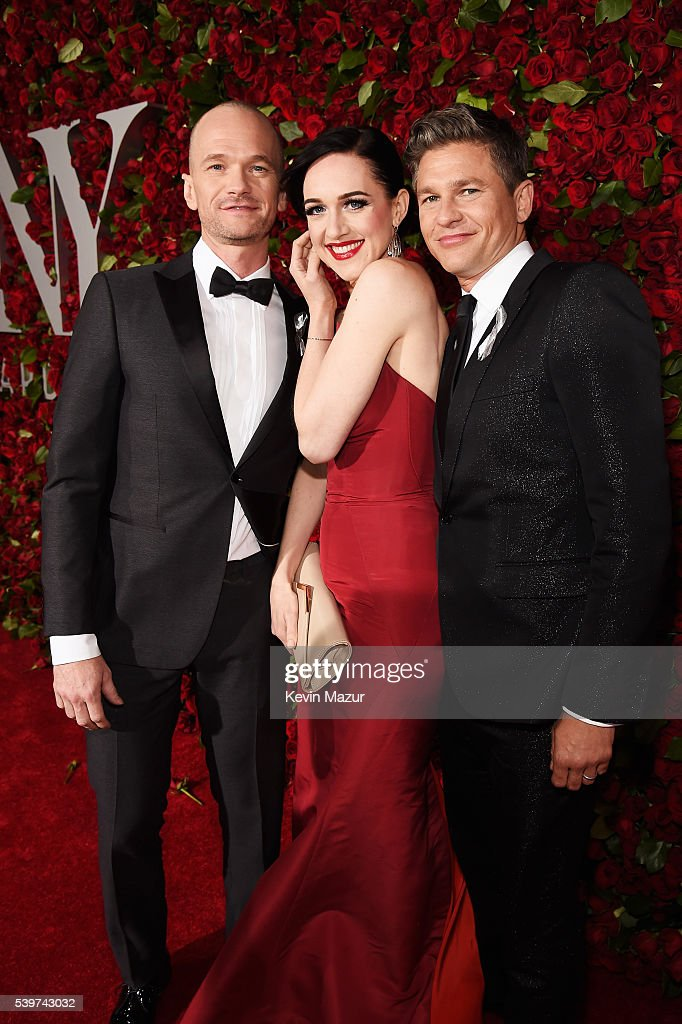 Neil Patrick Harris, Lena Hall, and David Burtka attends the 70th Annual Tony Awards at The Beacon Theatre on June 12, 2016 in New York City.
