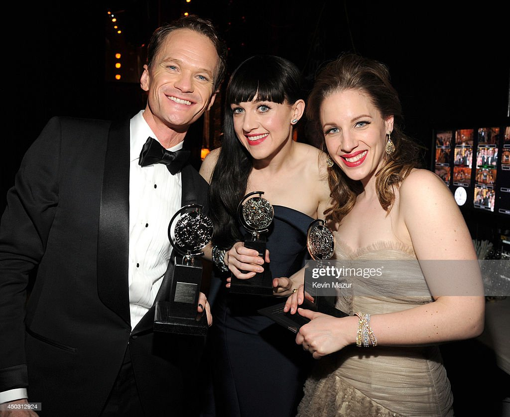 Neil Patrick Harris, Lena Hall and Jessie Mueller attend the 68th Annual Tony Awards at Radio City Music Hall on June 8, 2014 in New York City.