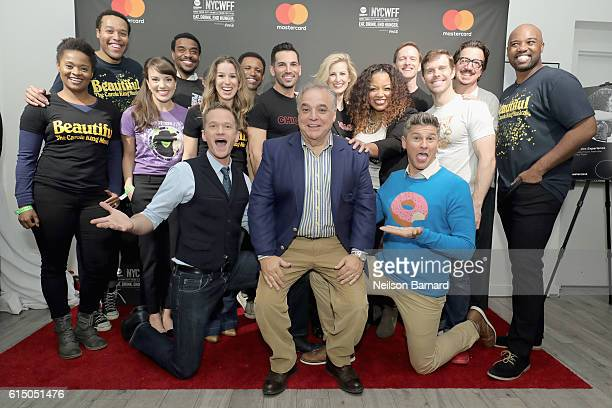Neil Patrick Harris New York City Wine Food Festival Founder Executive Director Lee Brian Schrager and David Burtka pose with Broadway actors at a...