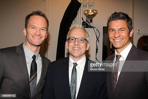 """Neil Patrick Harris, Playwright Donald Margulies and David Burtka poses backstage at """"The Country House"""" on Broadway at Manhattan Theater Club at The..."""