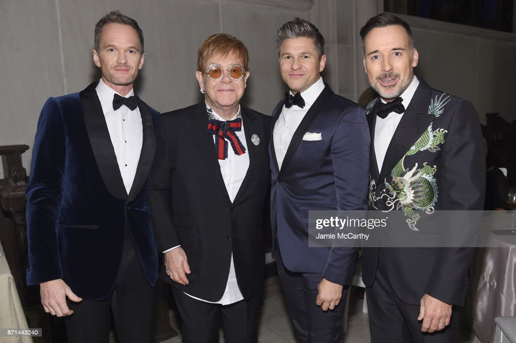 Neil Patrick Harris, Sir Elton John, David Burtka, and David Furnish attend the Elton John AIDS Foundation Commemorates Its 25th Year And Honors Founder Sir Elton John During New York Fall Gala at Cathedral of St. John the Divine on November 7, 2017 in New York City.
