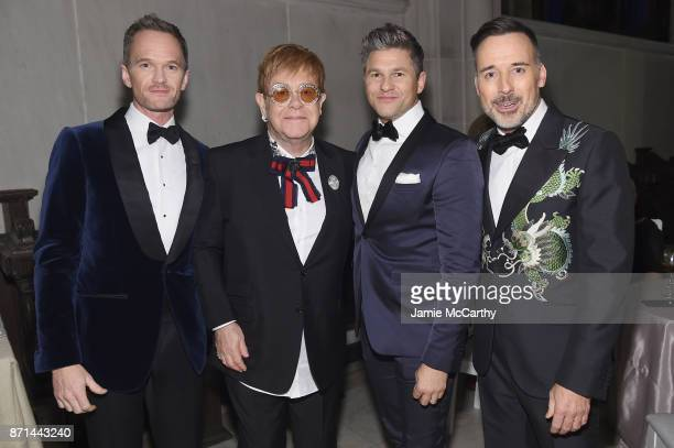 Neil Patrick Harris, Sir Elton John, David Burtka, and David Furnish attend the Elton John AIDS Foundation Commemorates Its 25th Year And Honors...