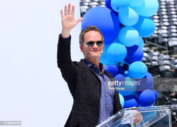 Neil Patrick Harris speaks during CLEAR Connects: A Day Of Families at Met Life Stadium on May 06, 2021 in East Rutherford, New Jersey.
