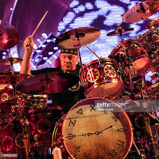 Neil Peart at LG Arena on May 26, 2013 in Birmingham, England.