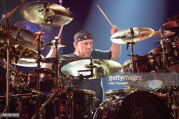 Neil Peart of Rush performs on stage during the R40 LIVE Tour at KeyArena on July 19 2015 in Seattle Washington