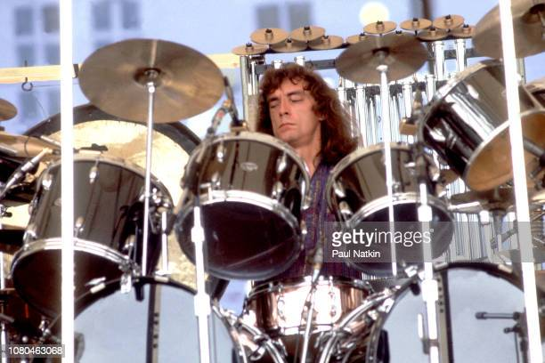 Neil Peart of the band Rush performs at Comiskey Park in Chicago Illinois August 19 1979