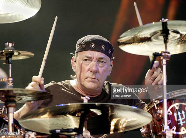 Neil Peart performs with Rush at the Charter One Pavilion on July 5 2010 in Chicago Illinois