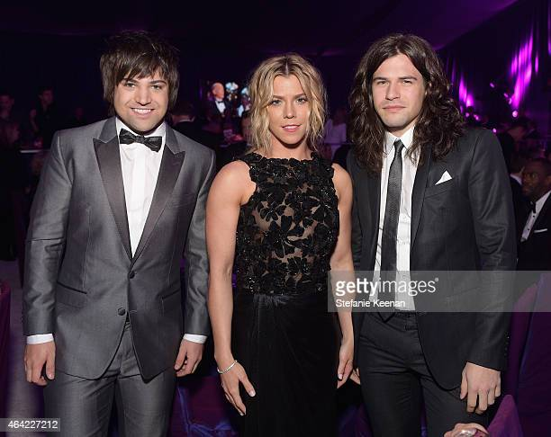 Neil Perry Kimberly Perry and Reid Perry of music group The Band Perry attend the 23rd Annual Elton John AIDS Foundation Academy Awards viewing party...