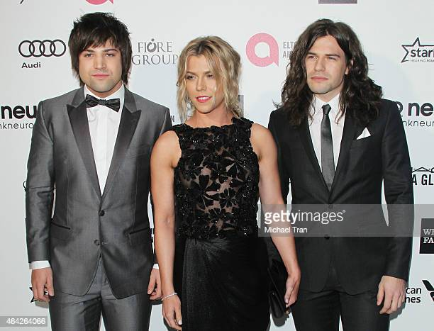 Neil Perry Kimberly Perry and Reid Perry of The Band Perry arrive at the 23rd Annual Elton John AIDS Foundation Academy Awards viewing party held at...
