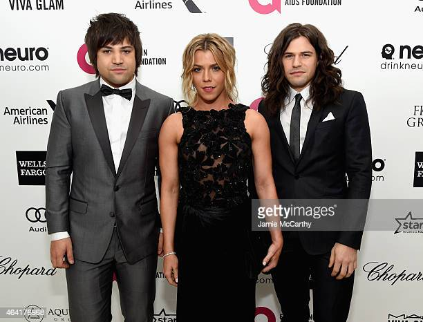 Neil Perry Kimberly Perry and Reid Perry of The Band Perry attend the 23rd Annual Elton John AIDS Foundation Academy Awards Viewing Party on February...