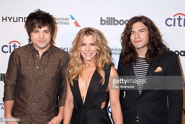 Neil Perry Kimberly Perry and Reid Perry of The Band Perry attends the 2015 Billboard Power 100 Celebration at Bouchon on February 5 2015 in Beverly...