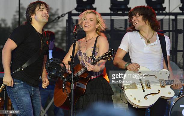 Neil Perry Kimberly Perry and Reid Perry of The Band Perry perform during the 2012 Country Stampede Day 4 at Tuttle Creek State Park on June 24 2012...