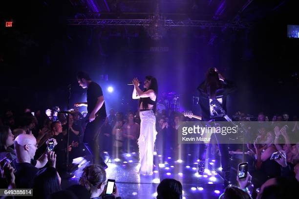 Neil Perry Kimberly Perry and Reid Perry of The Band Perry perform onstage during their 'Welcome To My Bad Imagination A Series of Popup Shows' at...