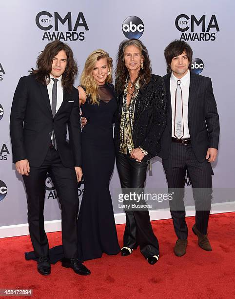 Neil Perry Kimberly Perry Steven Tyler and Reid Perry attend the 48th annual CMA Awards at the Bridgestone Arena on November 5 2014 in Nashville...