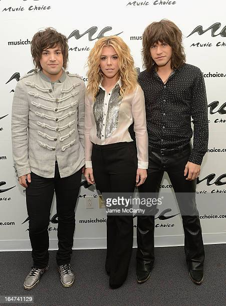 Neil PerryKimberly Perry and Reid Perry of The Band Perry visits Music Choice on March 27 2013 in New York City
