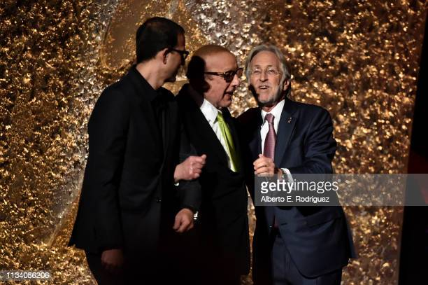 Neil Portnow and Clive Davis speak onstage at AllStar Lineup Pays Tribute At 'Aretha A GRAMMYCelebration For The Queen Of Soul at The Shrine...