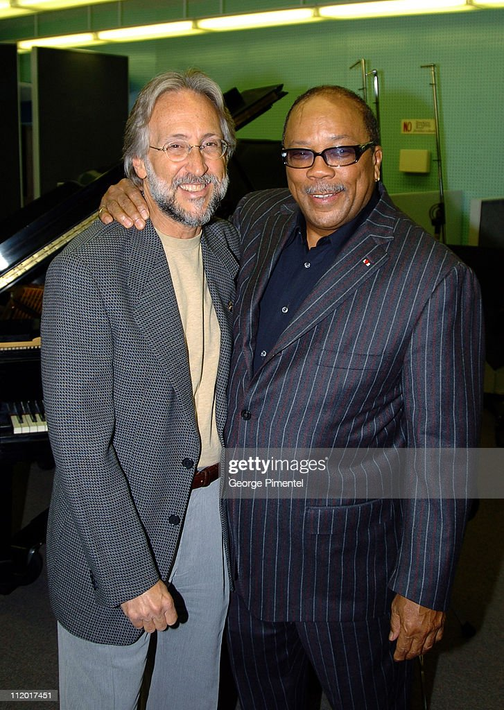 Neil Portnow and Quincy Jones during Music Legend Ray Charles Gets Grammy Presidents's Merit Award at Ray Charles Enterprises in Los Angeles, CA, United States.