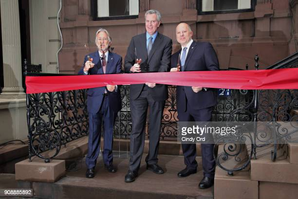 Neil Portnow Bill de Blasio and John Poppo attend the Recording Academy New York Chapter renovation ribbon cutting ceremony during the 60th Annual...