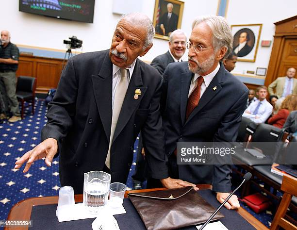 Neil Portnow President and Chief Executive Officer The Recording Academy talks with Rep John Conyers Jr at the Music Licensing Under Title 17 Part...