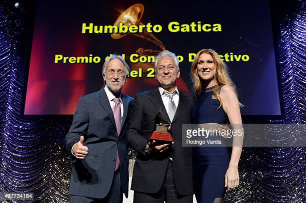 Neil Portnow, president of the National Academy of Recording Arts and Sciences, Lifetime Achievement recipient Humberto Gatica, and singer Celine...