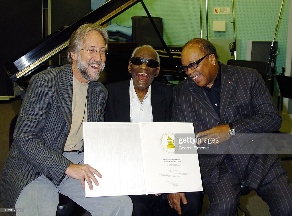 Neil Portnow, Ray Charles and Quincy Jones during Music Legend Ray Charles Gets Grammy Presidents's Merit Award at Ray Charles Enterprises in Los Angeles, CA, United States.