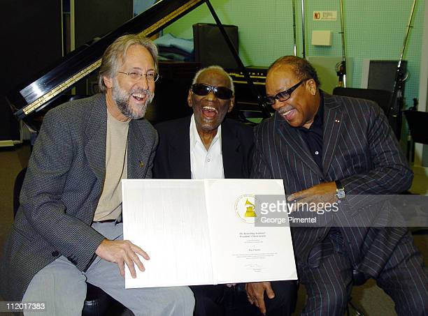 Neil Portnow Ray Charles and Quincy Jones during Music Legend Ray Charles Gets Grammy Presidents's Merit Award at Ray Charles Enterprises in Los...