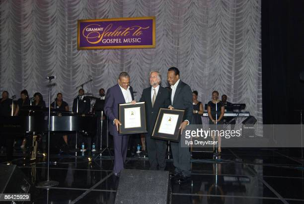 Neil Portow presents awards to Walter and Edwin Hawkins at GRAMMY Salute to Gospel Music at the Lincoln Theatre on June 18 2008 in Washington DC