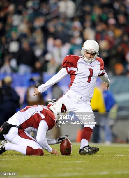 Neil Rackers of the Arizona Cardinals attempts a field goal against the Philadelphia Eagles at Lincoln Financial Field on November 27, 2008 in...