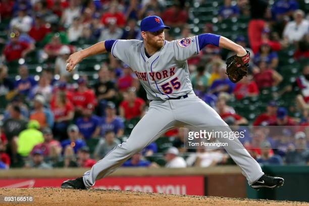 Neil Ramirez of the New York Mets pitches against the Texas Rangers in the bottom of the seventh inning at Globe Life Park in Arlington on June 6...